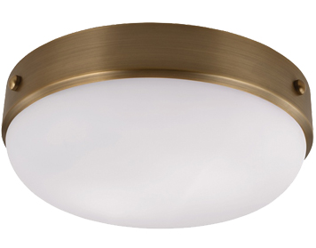 Elstead Feiss Cadence Flush Ceiling Light, Dark Antique Brass / Matt Black - FE/CADENCE/F DAB
