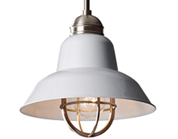 Elstead Urban Renewal 1 Light Mini Pendant, Brushed Steel/Glossy White - FE/URBANRWL/P/G