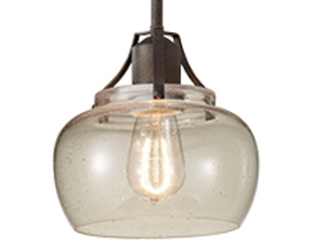 Elstead Urban Renewal 1 Light Mini Pendant, Rustic Iron/Clear Seeded Glass - FE/URBANRWL/P/H