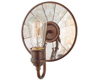 Elstead Urban Renewal 1 Light Wall Light, Rustic Iron/Clear Seeded Glass - FE/URBANRWL/WB2