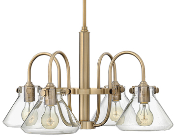 Elstead Hinkley Congress Clear Glass Chandelier, Brushed Caramel - HK/CONGRES4/A BC