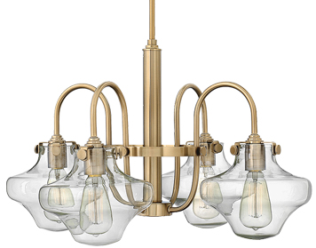 Elstead Hinkley Congress Clear Glass Chandelier, Brushed Caramel - HK/CONGRES4/B BC