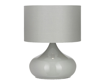 Endon Homerton Metal Touch Lamp, Gloss Taupe Finish With Taupe Cotton Mix Shade - HOMERTON-TLTA
