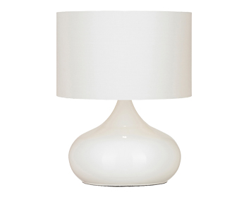 Endon Homerton Metal Touch Lamp, Gloss White Finish With White Cotton Mix Shade - HOMERTON-TLWH