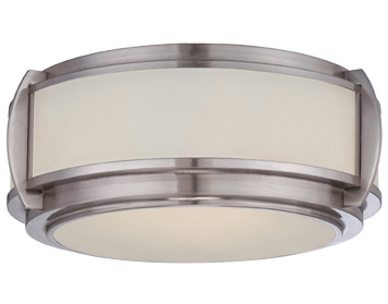 Elstead Quoizel Wilkinson 3 Light Flush Ceiling Light, Brushed Nickel - QZ/WILKINSON/F