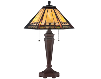 Elstead Quoizel Arden Tiffany Table Lamp Bronze Base With Amber, Copper And Pale Green Glass - QZ/ARDEN/TL
