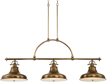 Elstead Quoizel Emery 3 Light Island Light, Weathered Brass - QZ/EMERY3P WS