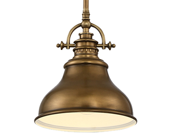 Elstead Quoizel Emery 1 Light Mini Pendant, Weathered Brass - QZ/EMERY/P/S WS