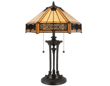 Elstead Quoizel Indus Tiffany Table Lamp, Bronze Base With Amber Glass Shade - QZ/INDUS/TL