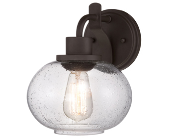 Elstead Quoizel Trilogy 1 Wall Light, Old Bronze With Clear Glass Shade - QZ/TRILOGY1