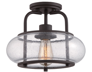 Elstead Quoizel Trilogy 1 Light Semi Flush Small Ceiling Light, Old Bronze With Clear Glass Shade - QZ/TRILOGY/SF/S