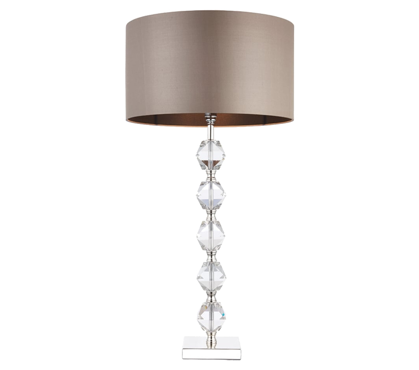 Endon verdone table lamp clear crystal glass finish with taupe silk shade verdone